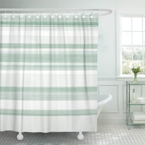 Suttom Green Pattern Sage Watercolor, Green And White Shower Curtain