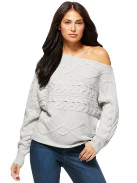 Sofia Jeans by Sofia Vergara Womens One Shoulder Cable Knit Sweater