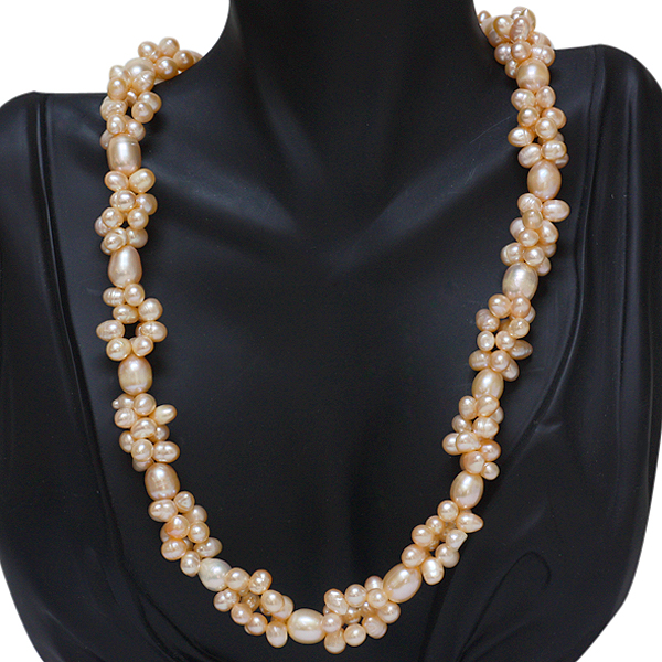 """Twisted Shape Cultured Freshwater Pearl Necklace 18"""" W/Lobster Clasp"""