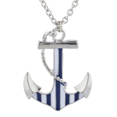 Lux Accessories Silver Tone Blue White Striped Nautical Anchor Necklace](Nautical Necklace)