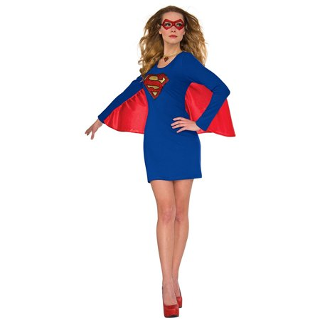 Womens Supergirl Halloween Costume Cape Dress with Wing