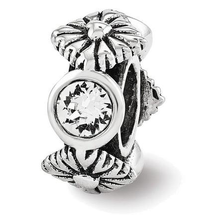Sterling Silver Reflections Swarovski Elements Tri Stone Bead