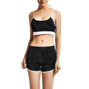 OUMY Women Sport Yoga Sling Bra + Running Shorts Stretch Tracksuit Set
