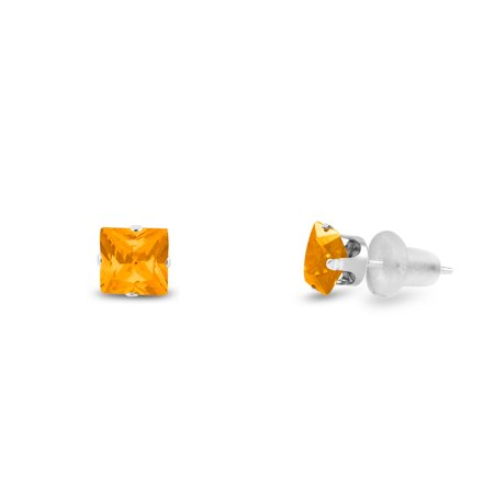 Simulated 2x2mm Square Princess Cut Yellow Citrine Solid 10K White Gold 4-Prong Set Baby Stud Earrings