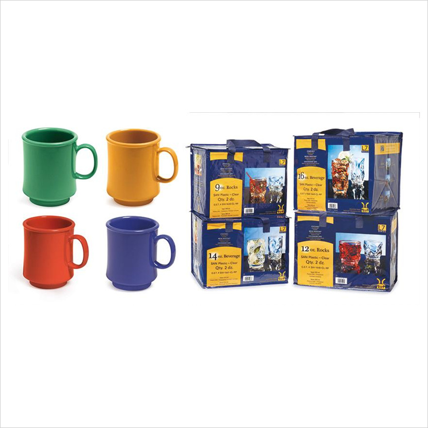 10 oz 3.25 x 3.75 Mug Mix Pack of 4 Mardi Gras Colors Tritan Retail Packaging/Case of 24