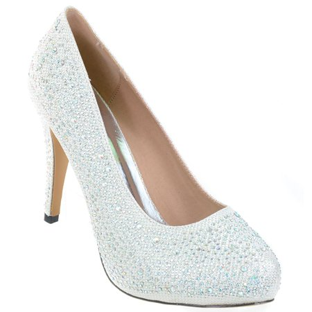 White Wedding Jeweled Glitter Beaded Formal Party LOW Heels Pumps - 8