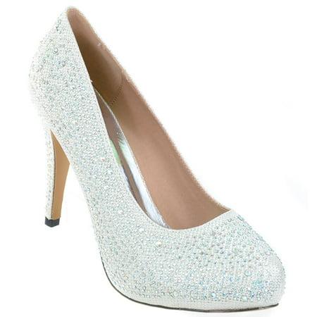 White Wedding Jeweled Glitter Beaded Formal Party LOW Heels Pumps - - Beaded Wedding Heels
