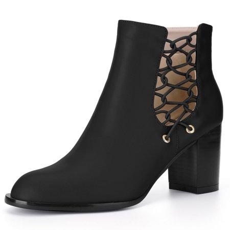 - Unique Bargains Women's Block Heel Lace-Up Cutout Ankle Boots Black (Size 9)