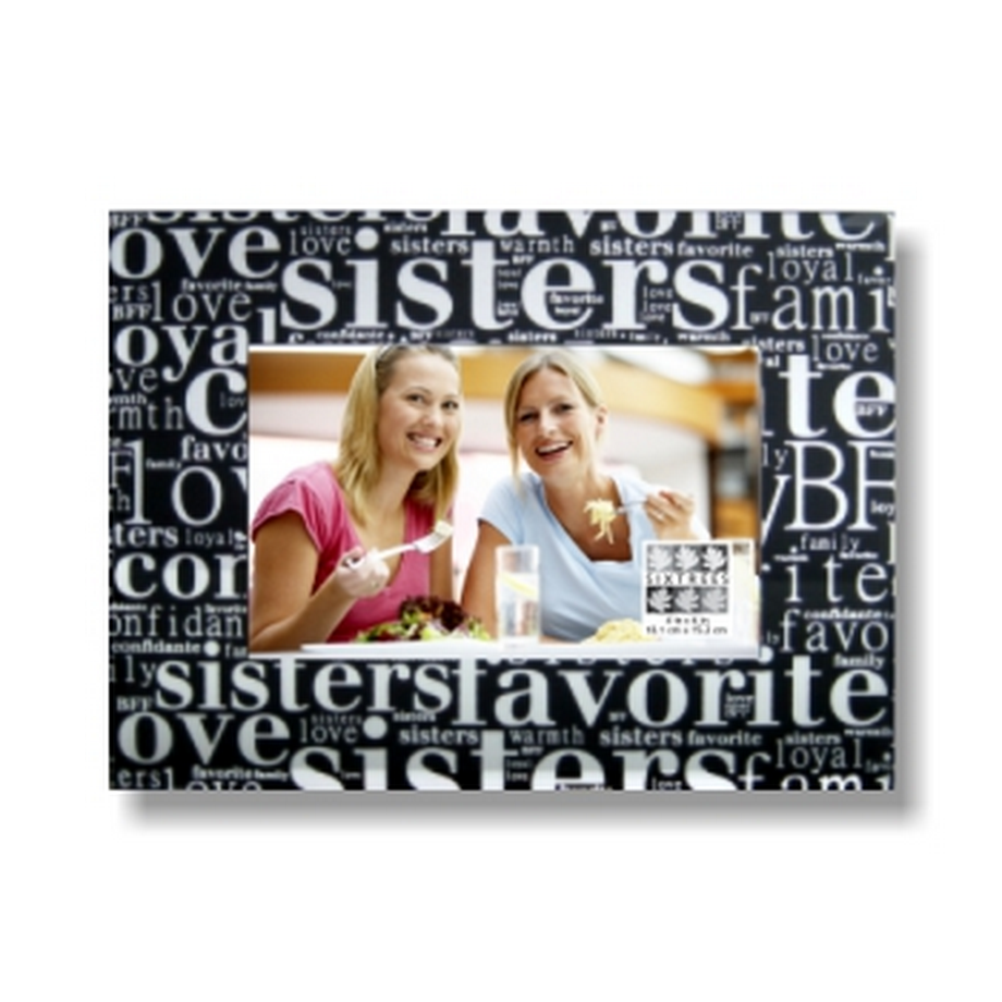 Sixtrees 4X6 Picture Frame, Sentiment Frame-Sisters Black Silver Overall