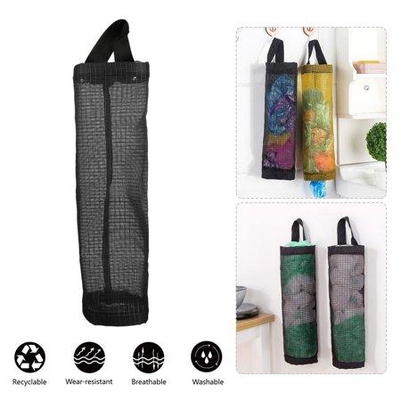 Bag Holder for Plastic Bags, Grocery Bag Holder Plastic Dispenser Foldable Breathable Washable Hanging Mesh Garbage Bag Organizer for Kitchen Plastic Bag Storage (Black) Grocery Sack Holder