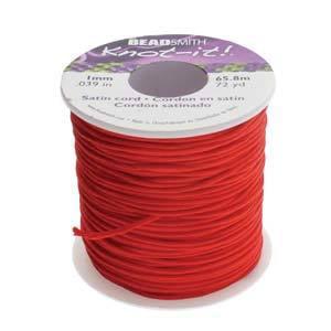 Knot It Rattail Satin Cord 1mm 72 Yard Spool- Red Red Satin Cord