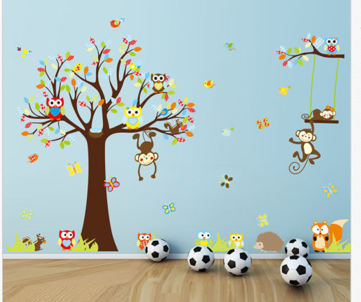 Cute Animals Monkey Owl Tree Removable Kids Wall Sticker Decal Nursery  Decor Educational Gift Children Toy