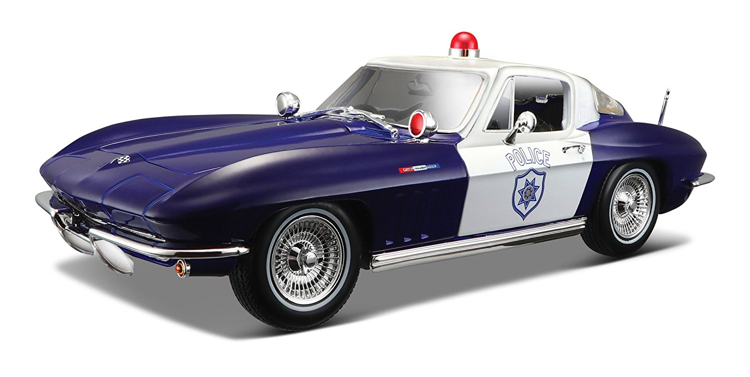 1965 Chevy Corvette Police Diecast Vehicle (1:18 Scale), Die cast metal body with plastic... by