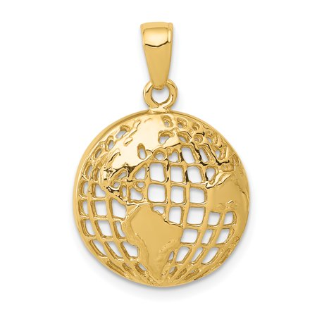 - 14k Yellow Gold Globe Pendant Charm Necklace Travel Transportation For Women