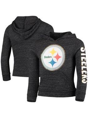 Pittsburgh Steelers New Era Girls Youth Tri-Blend Pullover Hoodie - Heathered Black