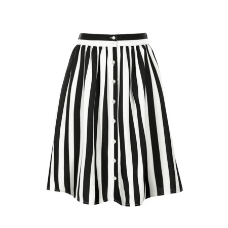 Women's Vintage Buttoned Front Elastic Back Waist A Line Striped Midi Skirt Black L (US (Bow Back Skirt)
