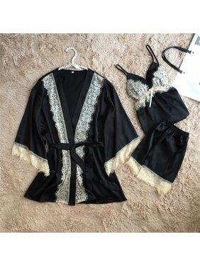 13753a7bf04982 Product Image 3PCS Set Women Lace Night Dress Silk Satin Pajama Sleepwear  Robes Nightwear Gown Black L