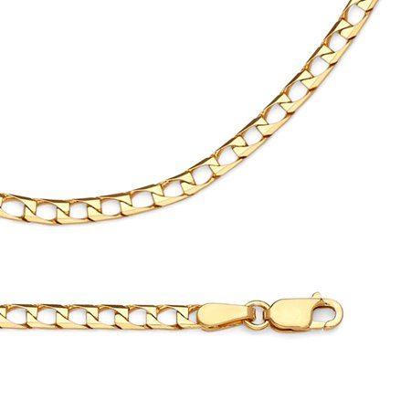 Solid 14k Yellow Gold Chain Square Curb Necklace Mens Diamond Cut Link Polished Style, 2.6 mm - 18,20,22,24 (Gold Square Curb Chain)