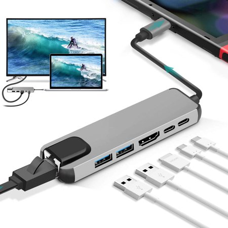 USB C Hub Multiport Adapter, EEEkit 6 in 1 Aluminum Dongle with 4K HDMI Output, 2 USB 3.0 Ports, Ethernet, 2 USB-C PD Port Compatible for MacBook Pro, XPS, Switch Lite and More Type C Devices Usb And 1 Parallel Port