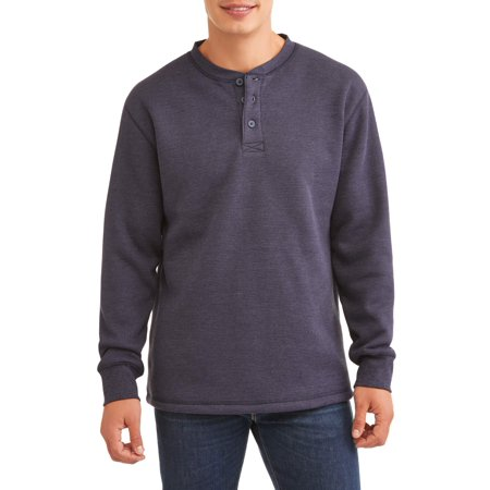Men's Solid Thermal Henley Sherpa Lined, up to size 2XL