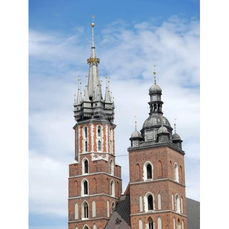 Closeup of St Mary's Church Twin Towers, Gothic Basilica in Krakow, Poland Print Wall Art By pryzmat](Twin Cities Church Halloween)