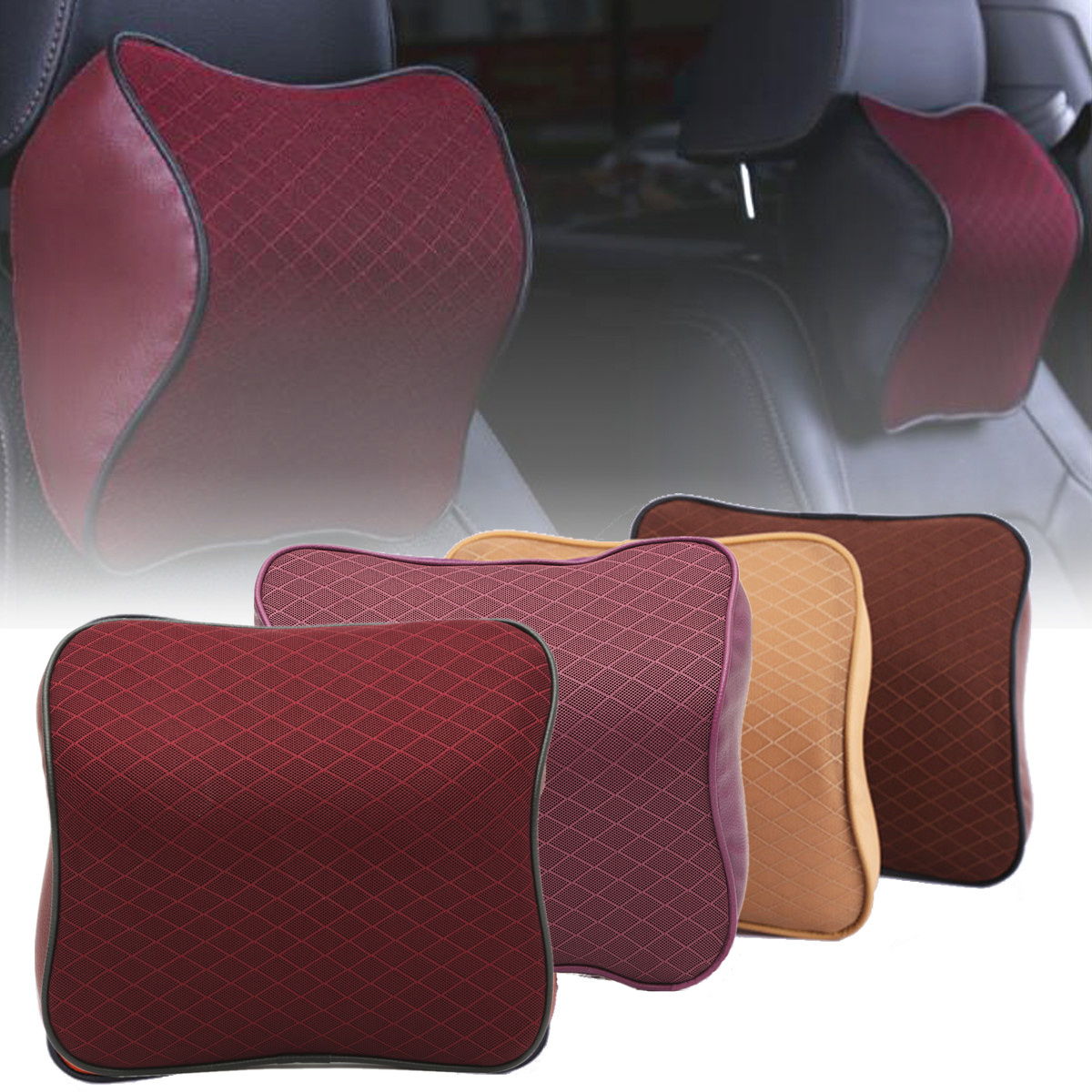 Neck Cushion Car Seat Headrest Pillow Breathable Mesh PU Leather Pad Memory Foam (Color: Beige, Wine red, Coffee, Purple)