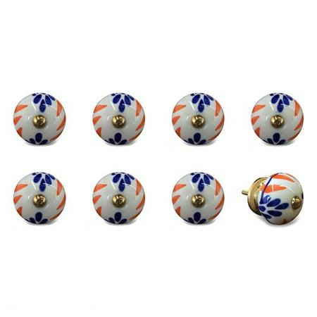 Knob-it 676685031723 Vintage Hand Painted Ceramic Knob Set - White, Blue & Orange - Pack of 8
