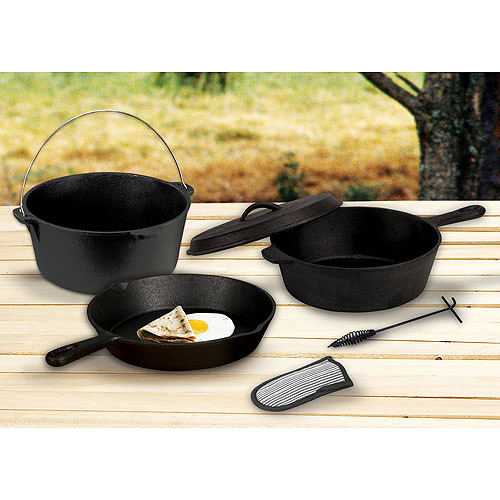 Stansport Pre-Seasoned Cast-Iron Cookware, 6-Piece Set