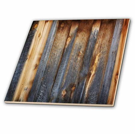 - 3dRose Brown Barn Wood Look - Ceramic Tile, 4-inch