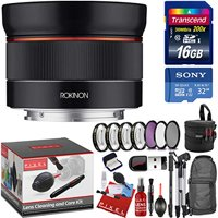 Rokinon AF 24mm f/2.8 FE Lens for Sony E with 7 Piece Filter Kit, Bonus Memory Cards, Tripod, Monopod, Cleaning Kit, and a Heavy Duty Extra Padded Lens Case