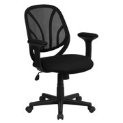 Flash Furniture Mesh Back Computer Chair with Arms, Black