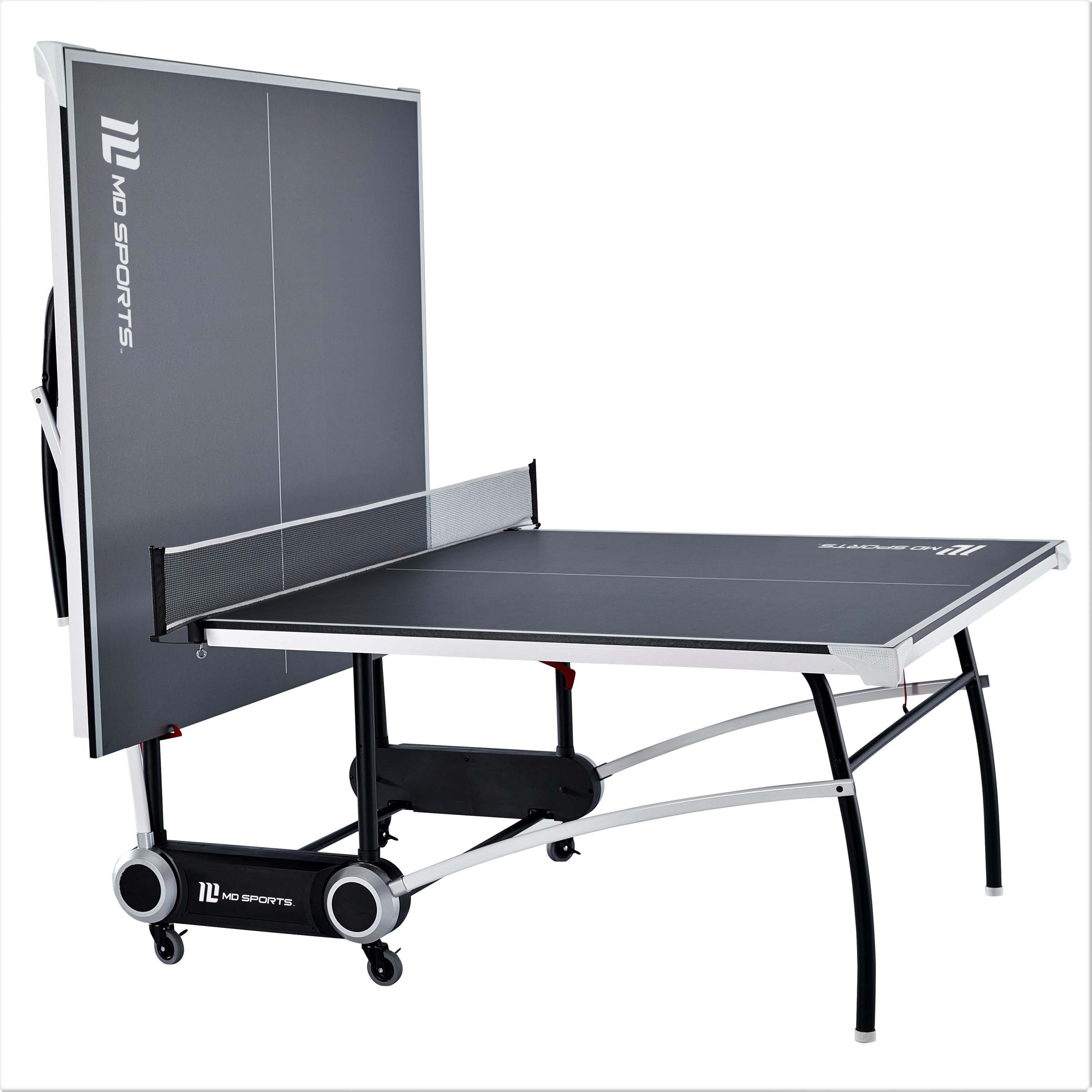 MD Sports 2-Piece Official Size Table Tennis Table, Includes Set of Post and Net, Sturdy Steel Leg Construction, Gray