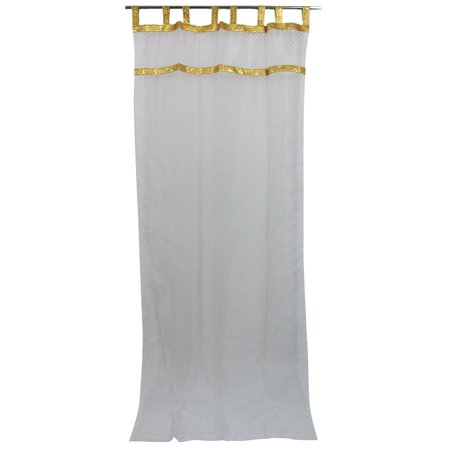 Mogul White Sari Curtains Sheer Gold Border Moroccan Drapes 2 Panels 48x108