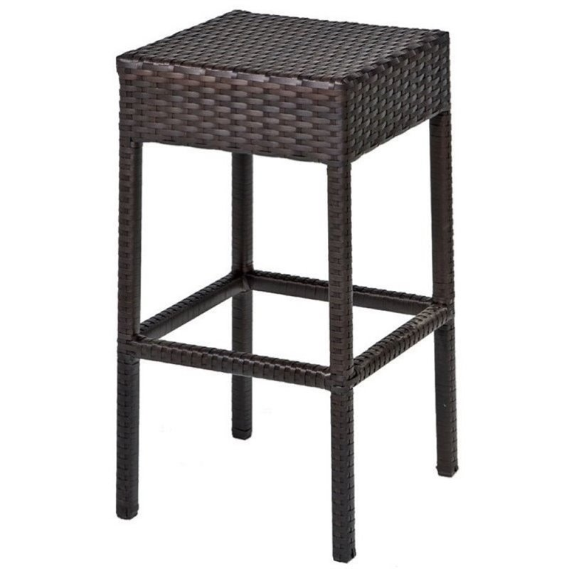 "Pemberly Row 30"" Backless Wicker Patio Bar Stool in Espresso (Set of 2)"