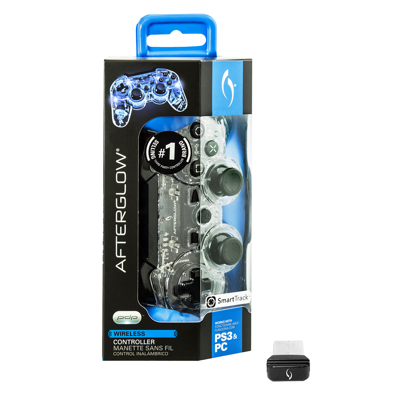 PDP Afterglow PS3 Wireless Controller, Blue, 064-015-NA-BL
