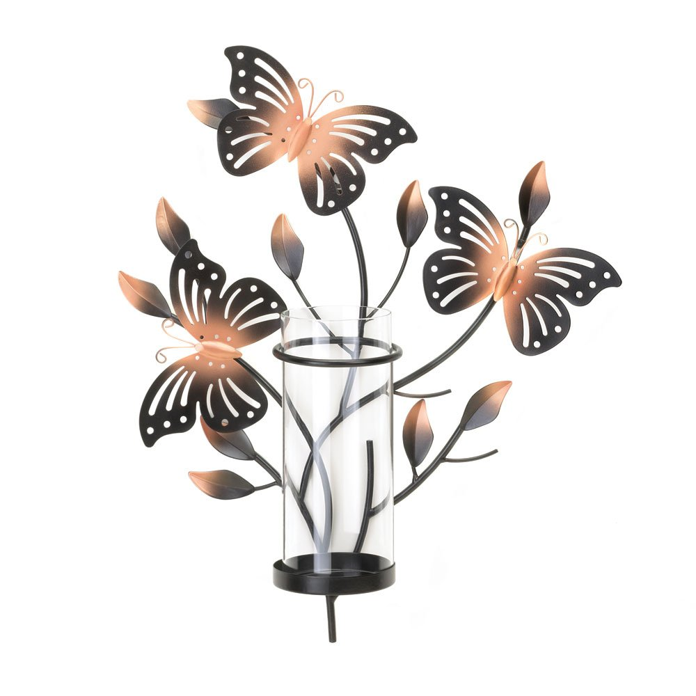 Sconce Candle Black Metal Wall Sconce Decorative Bedroom Butterfly