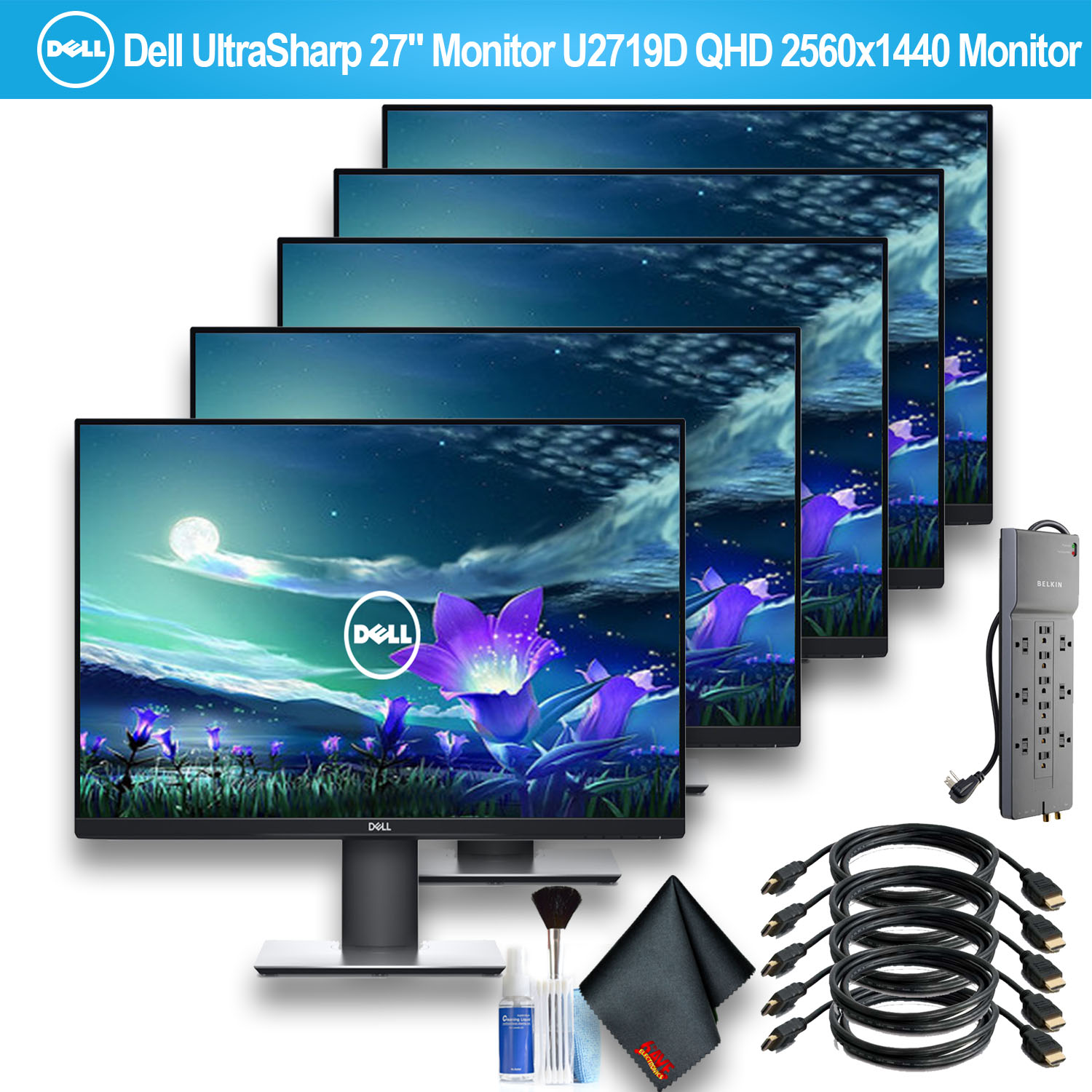 """Dell UltraSharp 27"""" Monitor U2719D QHD 2560x1440 Monitor With 1 - Belkin PowerStrip and 5 HDMI Cables - 5 Pack"""