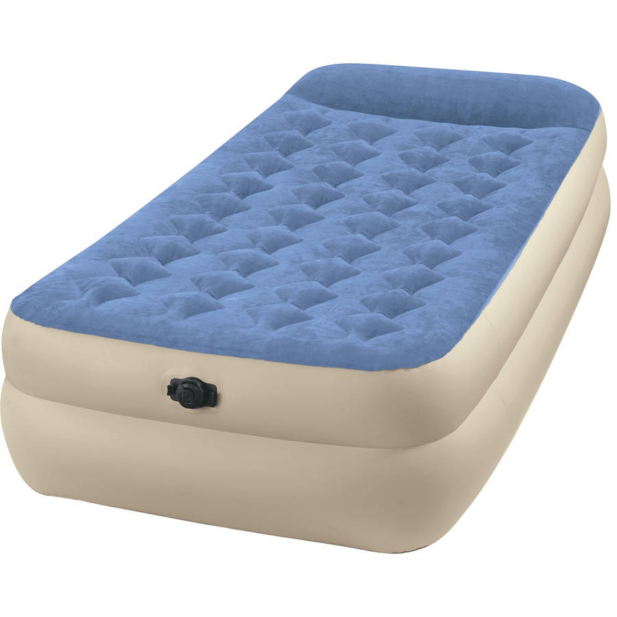"""Intex Twin 18"""" Raised Pillow Rest Airbed Mattress with Built in Pillow"""