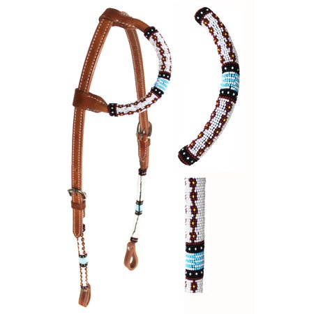 (Horse Show Bridle Western Leather Headstall Beaded One Ear 79RT05HA)