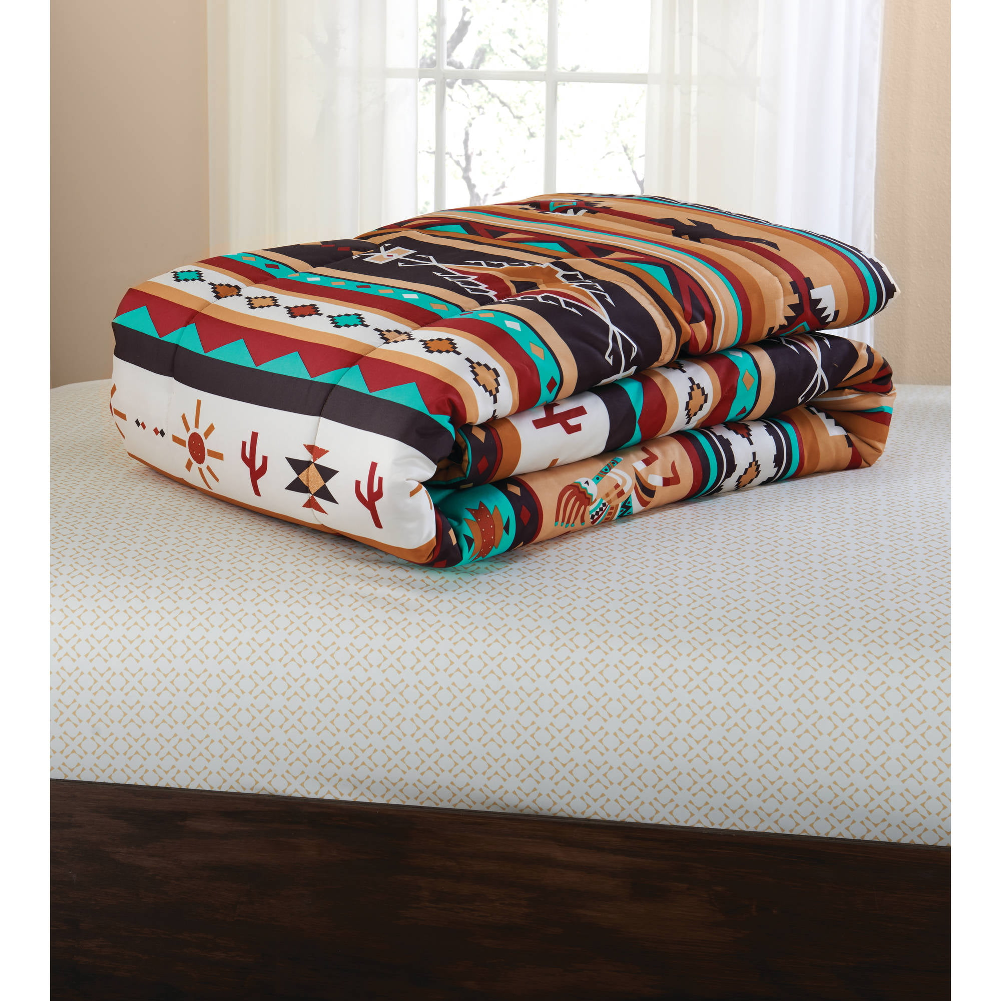 Bed In A Bag 6 Pc forter Set Southwest Turquoise Tan Red Pattern