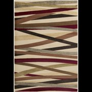 4' x 5.5' Bamboo Forest Taupe, Tan and Maroon Red Shed-Free Area Throw Rug