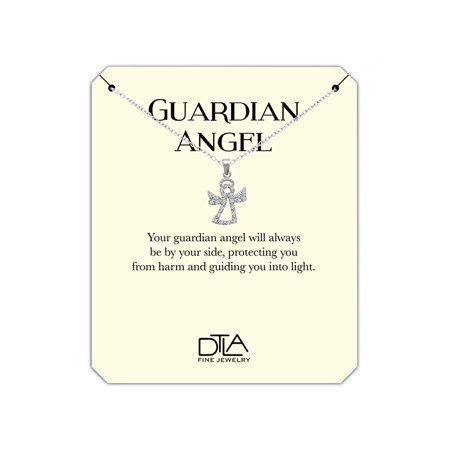 DTLA Guardian Angel Necklace in Sterling Silver with Inspirational Help Message Card - Angel with CZ - Guardian Angel Necklace
