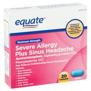 Equate Maximum Strength Severe Allergy Plus Sinus Headache Caplets, 20 Count