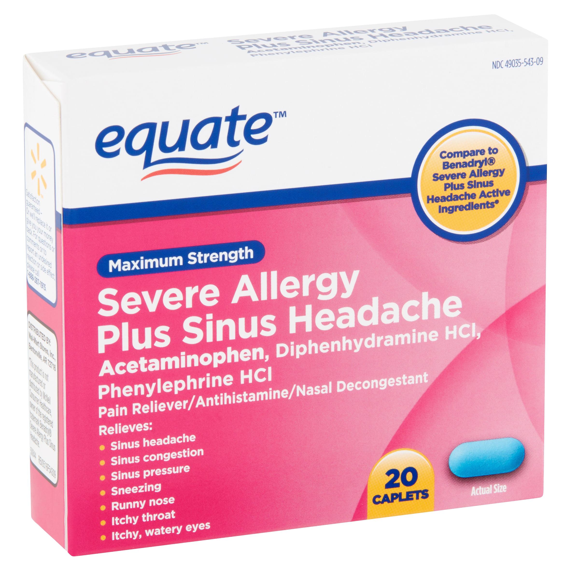 Equate Maximum Strength Severe Allergy Plus Sinus Headache Caplets, 20  count - Walmart.com