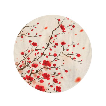 POGLIP 60 inch Round Beach Towel Blanket Red Pattern Oriental Painting Plum Blossom in Spring Flower Travel Circle Circular Towels Mat Tapestry Beach Throw - image 2 of 2