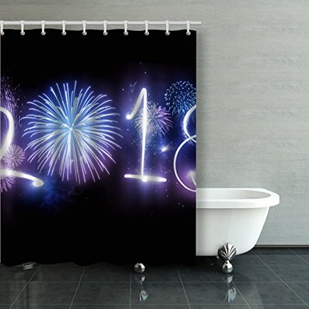 BPBOP The Year 2018 Displayed With Fireworks And Strobes New Year And Holidays Concept Shower Curtain Bathroom Curtain 60x72 inches
