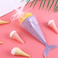 KABOER Mermaid Favor Gift Boxes Mermaid Themed Baby Shower Birthday Empty Candy Box Bag