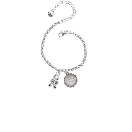 Silvertone Small Paw Print Ribbon ''Animal Rescue'' Sisters Are Best Friends Forever Engraved Bracelet (Cheap Engraved Bracelets)