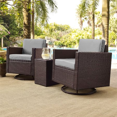 Image of PALM HARBOR 3-PIECE OUTDOOR WICKER CONVERSATION SET WITH GREY CUSHIONS -- TWO SWIVEL CHAIRS & SIDE TABLE