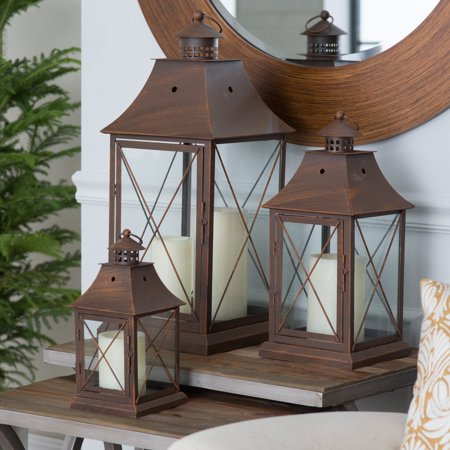 Magnolia Bronze Metal Lanterns - Set of (Bronze Vintage Wall Lantern)